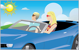 Cartoon Image of people driving a convertible
